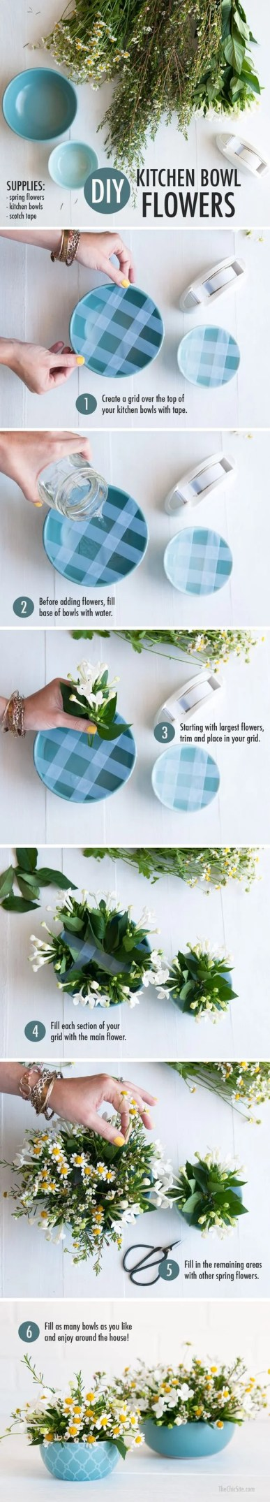 This kitchen bowl flower DIY is sure to impress all your friends!