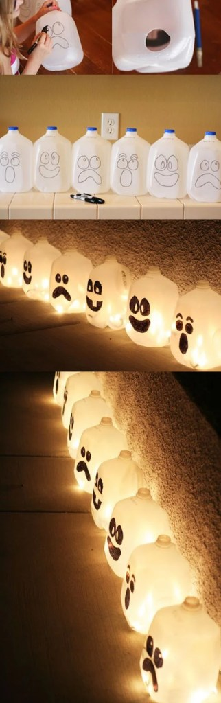 DIY Lantern Recycled Jugs Halloween Decor