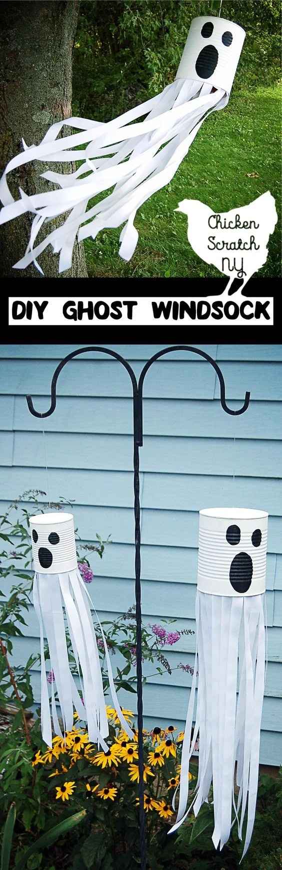 Tin Can Ghost DIY for Front Yard Halloween Decor