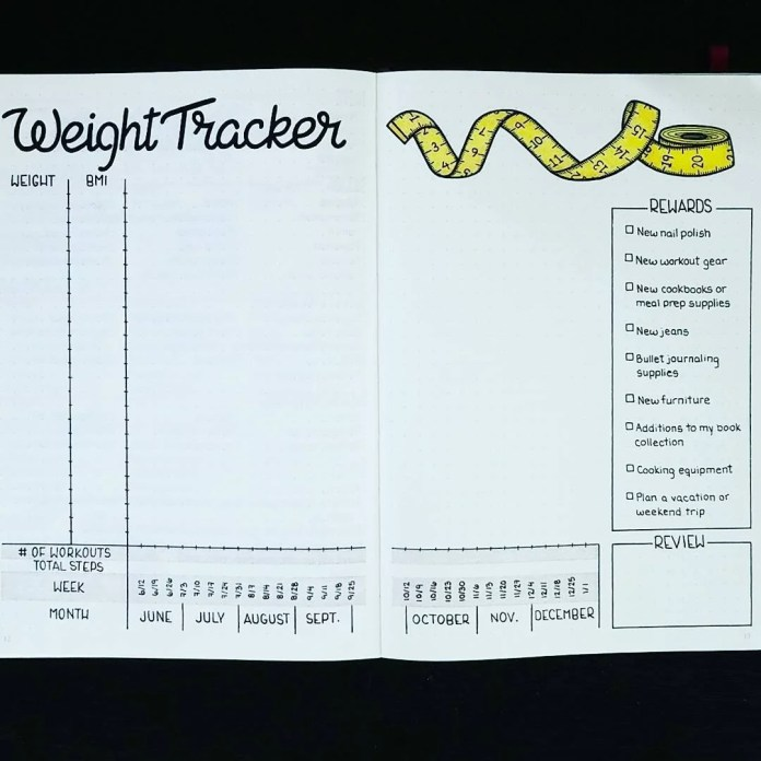Weight Tracker Bullet Journal Fitness Planner