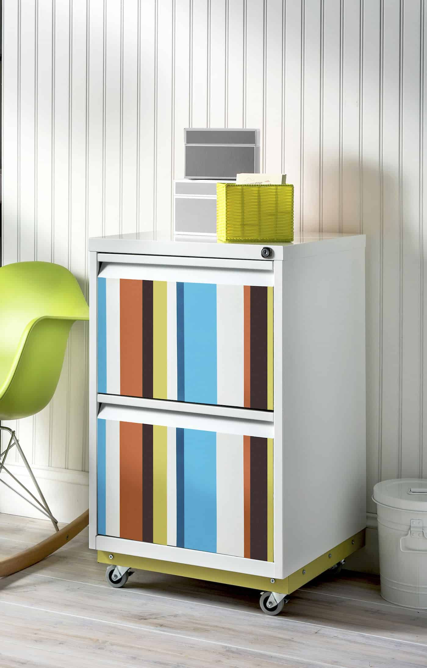 Colorful Striped DIY File Cabinet  diycandycom