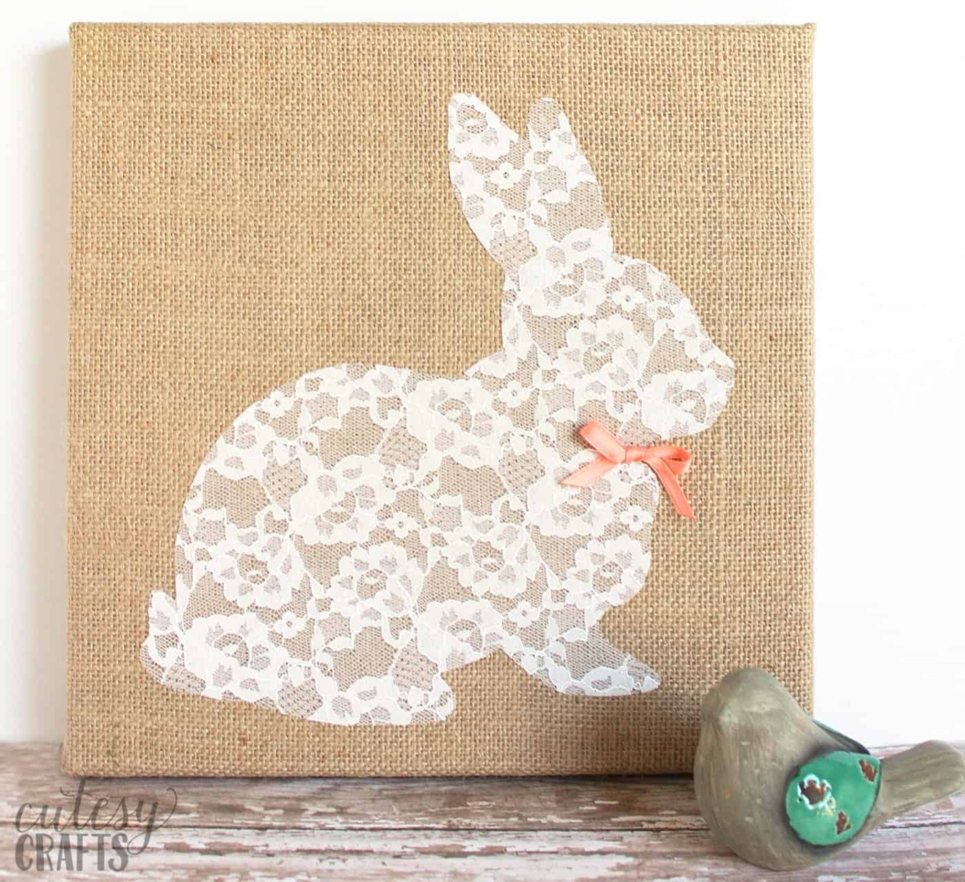 Lace Bunny Canvas Easter Craft  DIY Candy