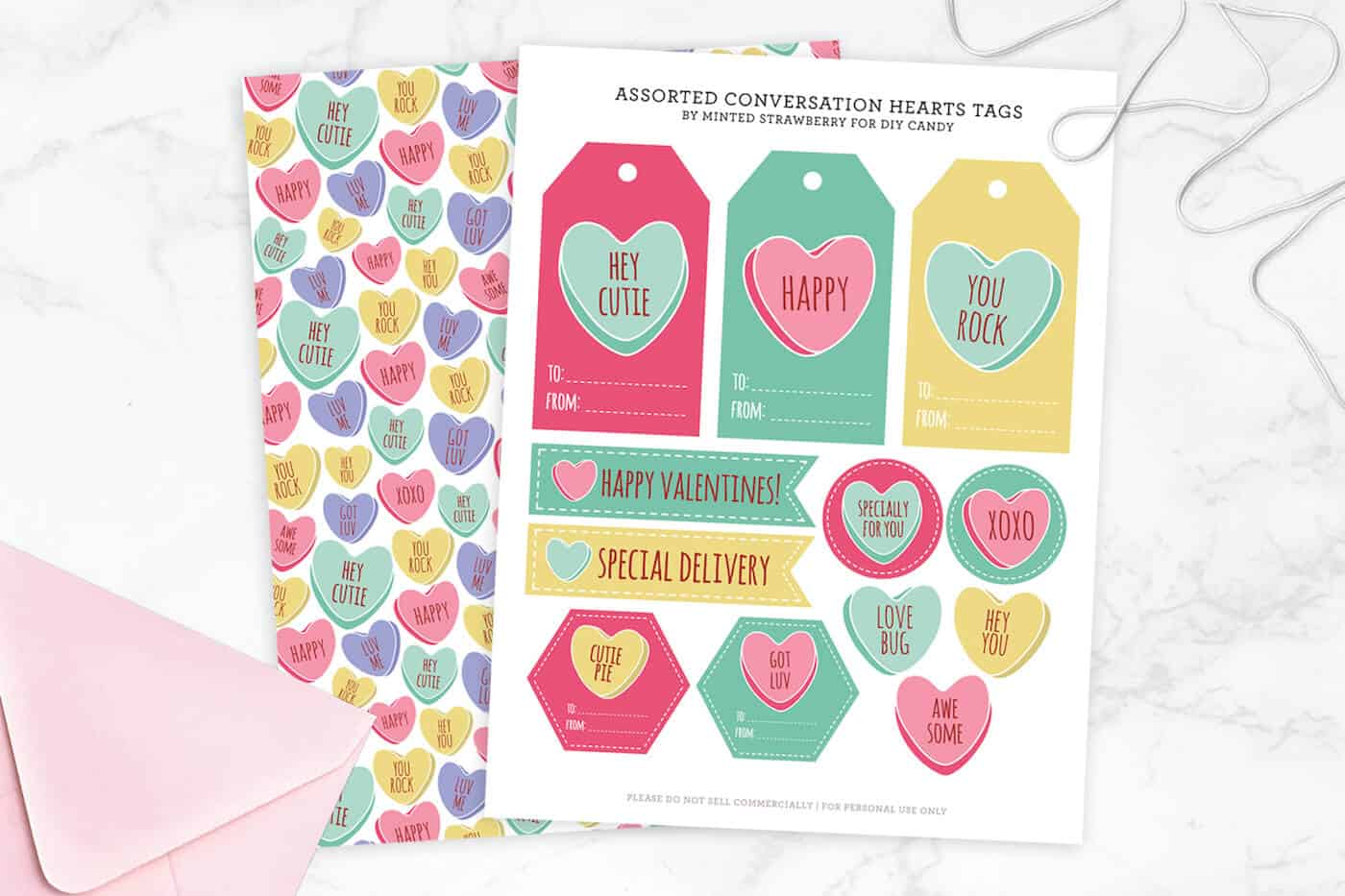 Conversation Heart Valentine Tags And T Wrap
