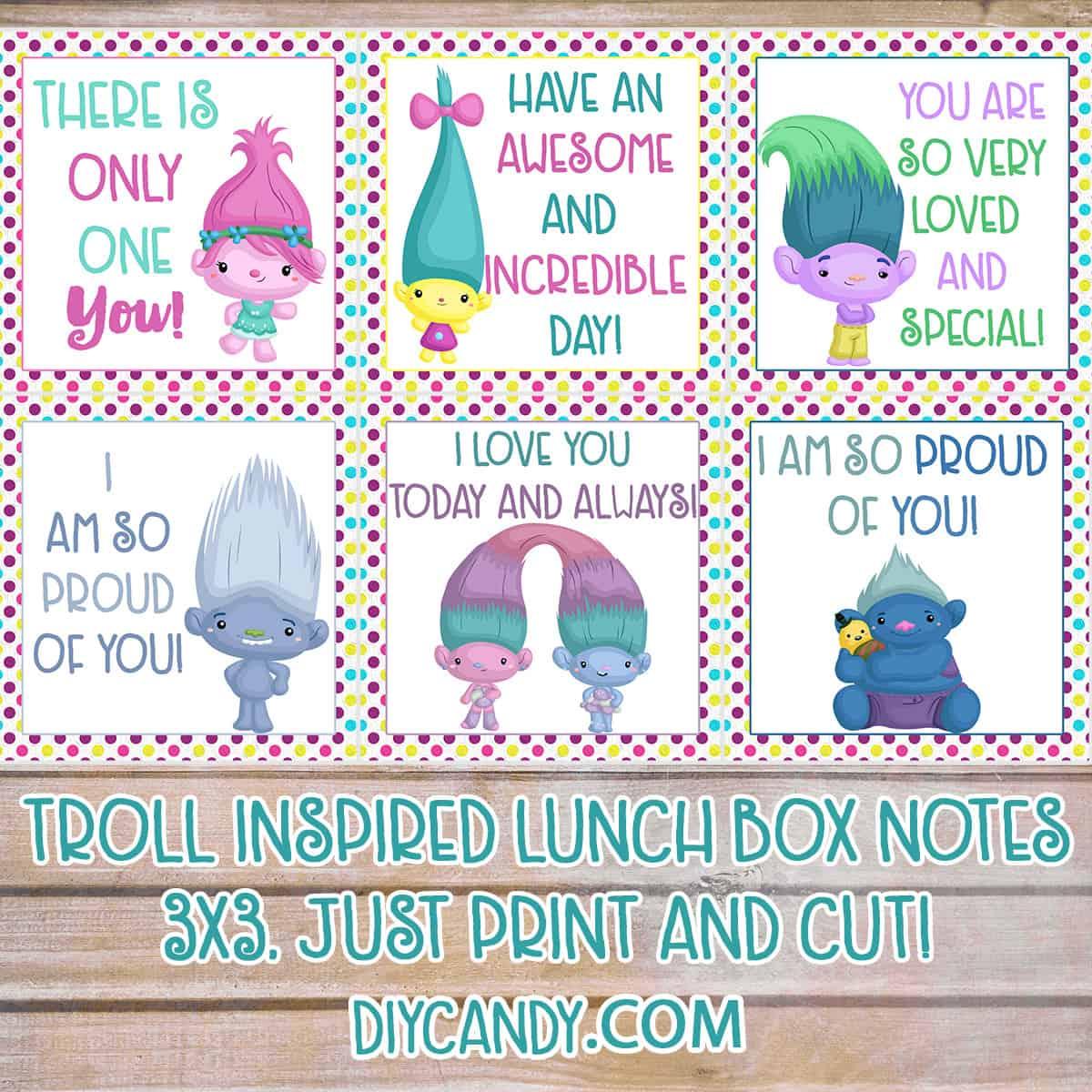 Free Trolls Printables Lunchbox Notes