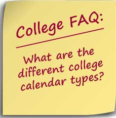 Post-it note asking What are the different college calendar types?
