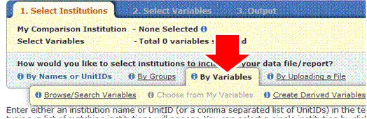 Select Institutions by Variables