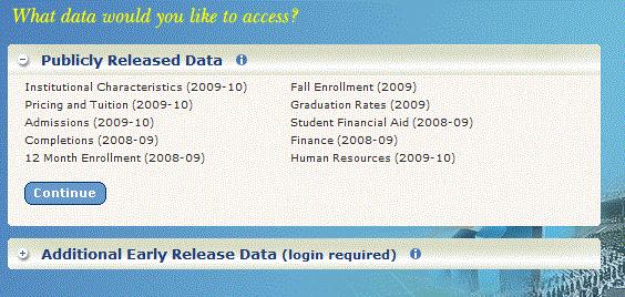 IPEDS Data Access Menu