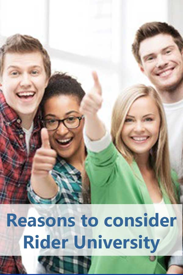 Reasons to consider Rider University: Honors Program Undergraduate Research Scholar Awards Center for the Development of Leadership Skills Center for Business Analytics Shadow Experience Science and Technology Advanced Research Institute
