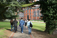 Students walking on campus representing college visits