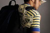 student with backpack of money