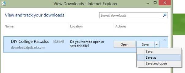 Internet Explorer File Save as Options Menu