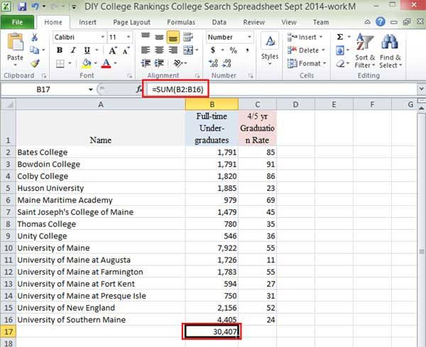 Show Excel formula for summing data