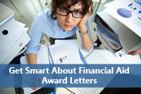 Person trying to understand financial aid award letter