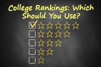 Chalk board with college rankings