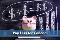 Chalk board with money signs to show how to pay less for college