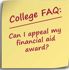 Post-it note asking Can I appeal my financial aid award?