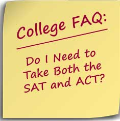 Post-it note asking if you need to take both the SAT and ACT