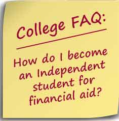 Postit note asking How do I become an Independent student for financial aid?