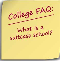 Post-it note asking What is a suitcase school?