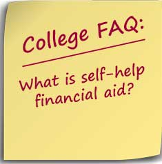 Post-it note asking What is self-help financial aid?