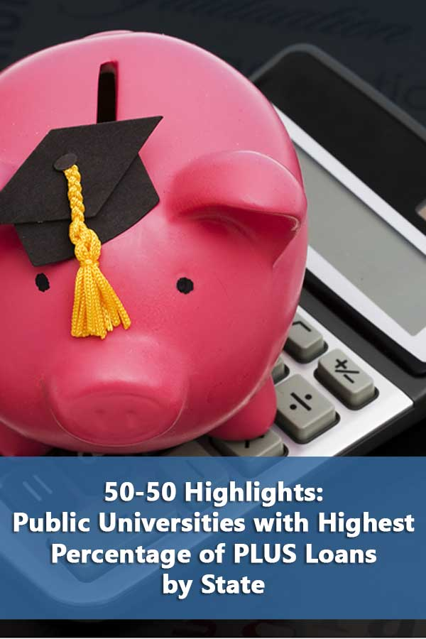 List of public universities with highest percentage of plus loans by state.