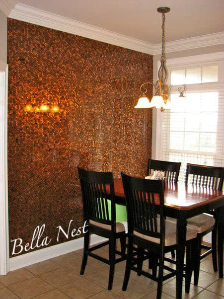 How To Cover An Entire Wall With Pennies  DIY Cozy Home