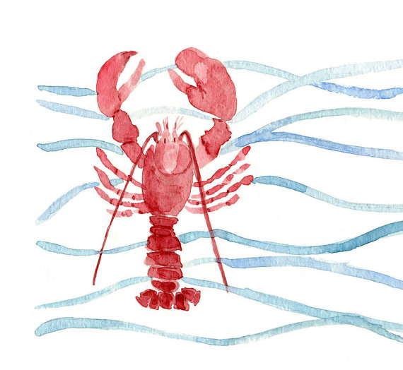Red Lobster art print of original watercolor painting. Lobster and waves Stripes, nautical, marine, cottage chic, coast, beach. fishing by TheJoyofColor