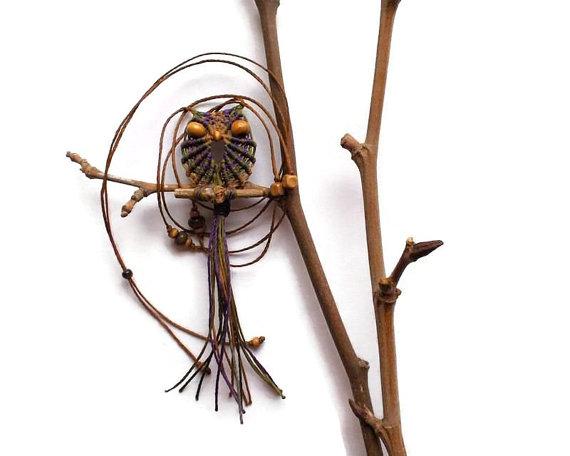 Brownish Macrame Owl Necklace by macraMe