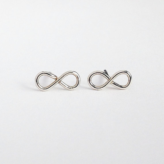 Sterling Silver Infinity Studs. Infinity Post Earrings by AzizaJewelry