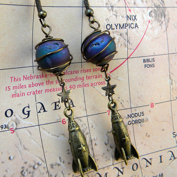 Earrings – Rocket Earrings – Travel To Mars – Rocket Ship Earrings-Space Travel – Rocket Man Earrings by Msemrick