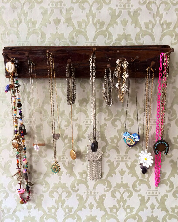 Jewelry Holder Rack made from Vintage Harlem New York Wood Floor and Nails by barkingmaddison