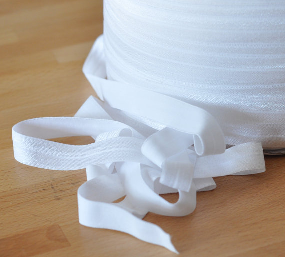 White Fold Over Elastic 5/8 Inch-5 Yards or 10 Yards-White by fleuriste