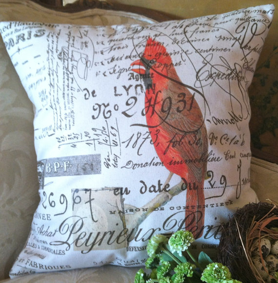 Cardinal French Script Canvas and Burlap Pillow Cover by Gathered Comforts by gatheredcomforts