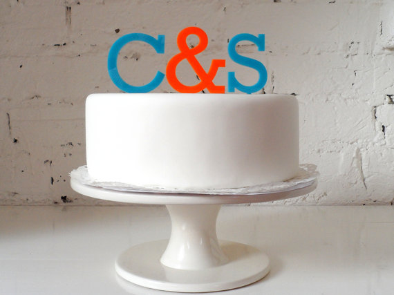 Wedding Cake Topper – Initials with Ampersand Cake Topper by MissSarahCake