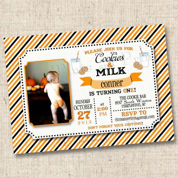 Halloween Cookies and Milk Custom Birthday Party Invitation Design- printable any age by TintsAndPrints
