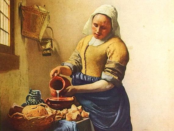 The Milkmaid by Jan Vermeer – a Frameable Vintage 1953 Art Print by bythewayside