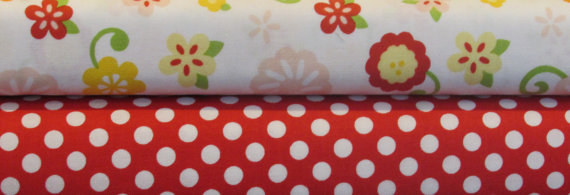 STORE CLOSING Sale Riley Blake Simply Sweet and Small Red Dot 1 yard bundle, 2 yards total by QuiltsandJewels