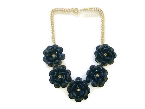 Flower Necklace – Rosette Necklaces – Floral Necklace – Blossom Necklace – Navy Necklaces – Dark Blue Necklace – Anthropologie Inspired by MidnightGirls