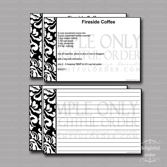 Editable and Printable – 4 x 6 BLACK Damask Recipe Cards – (2) PDF Files – Instant Digital Download by DelightfulOrder
