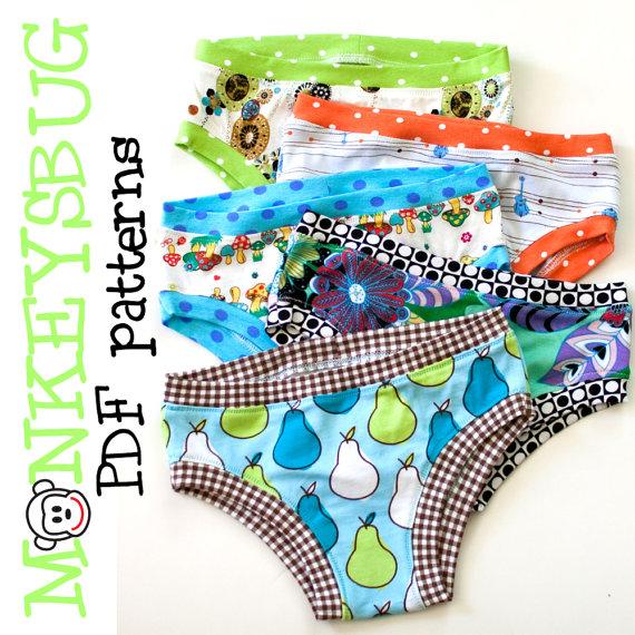 Knit Hipster or Bikini Briefs for Girls PDF eBook Pattern INSTANT DOWNLOAD by monkeysbug