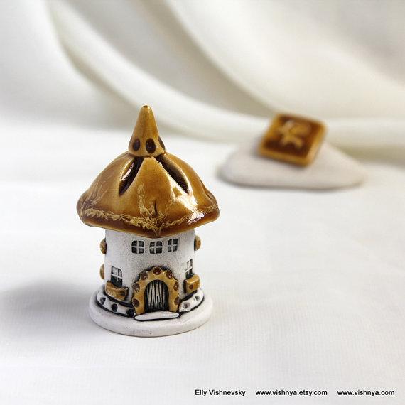 Honey-milk autumn House of tiny fairies — unique Hand Made Ceramic Eco-Friendly Home Decor by studio Vishnya by vishnya