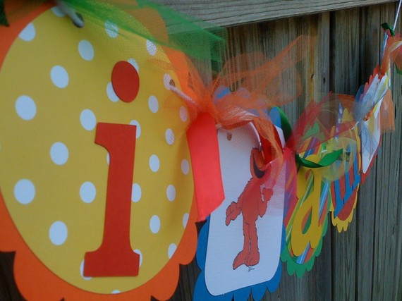 I AM 1 High Chair Banner in Primary Colors with Sesame Street Characters by BurleyGirlDesigns