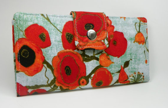 Handmade vegan Long Wallet BiFold Clutch – Vegan Wallet – Orange Poppies by FaithOnEarth
