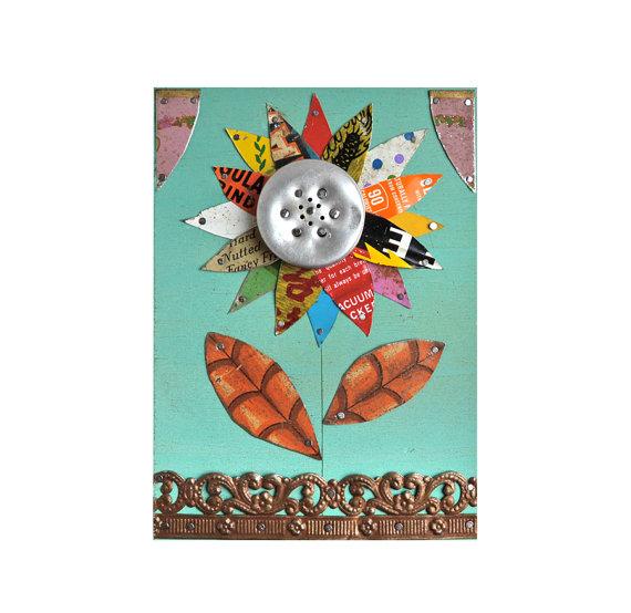 vintage tin flower tin litho sunflower daisy (10) ORIGINAL ART by Elizabeth Rosen by ElizabethRosenArt
