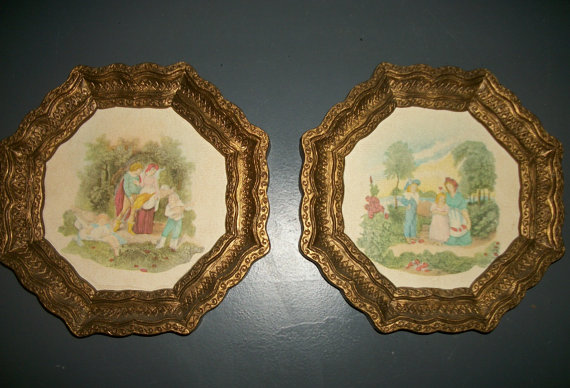 Pair of Small Octagon Shaped Burwood Plaques by Junkydory