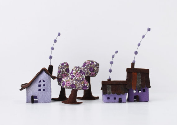Violet Cabins with trees. Miniature. by Intres