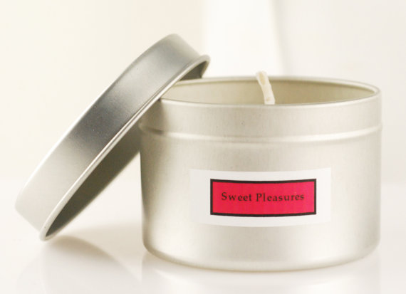 4 oz tin scented soy candle, sweet pleasures fragrance, handmade soy candle by Taromas