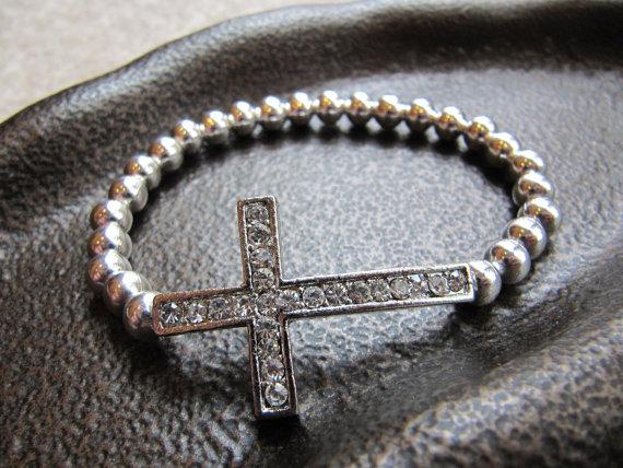 Crystal Sideways Cross Bracelet with Sterling Silver Beads by JillEliz123
