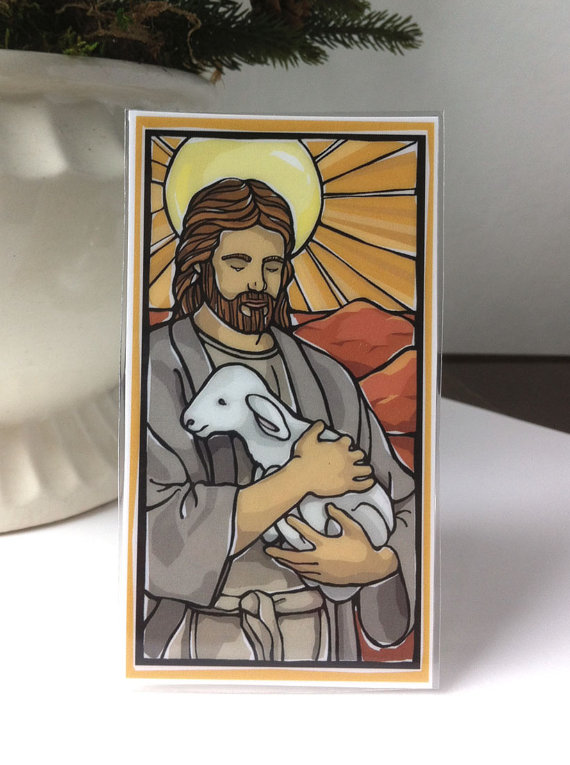 Good Shepherd Holy Card with Psalm 23 by ModHMary