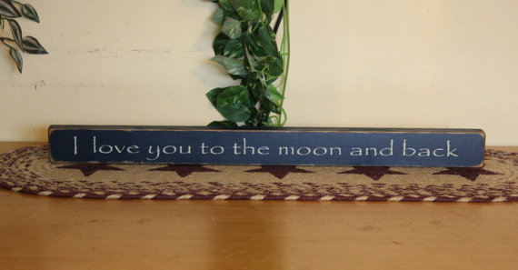 Primitive & quot; I love you to the moon and back & quot; mini block shelf sitter – your color choice by CCWD